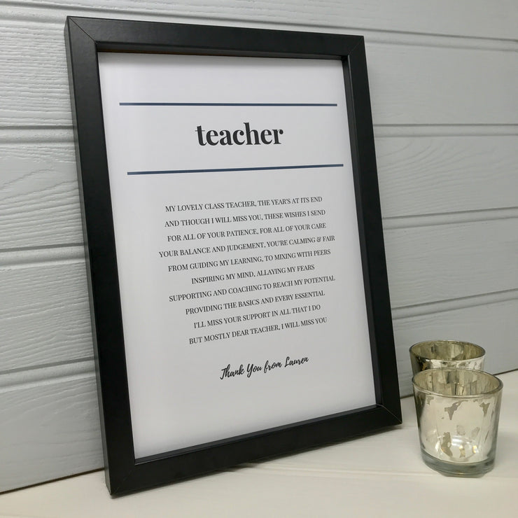 personalised gift for a teacher from the class