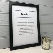 a poem about a teacher in a black and white contemporary design