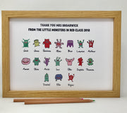 thank you teacher a personalised print from the class