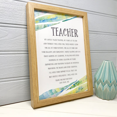 personalised thank you poem for a teacher