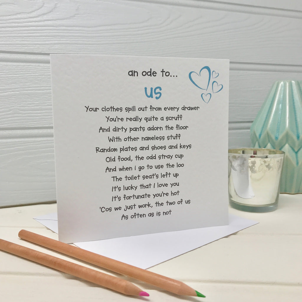 anniversary card for husband or boyfriend with a poem about us