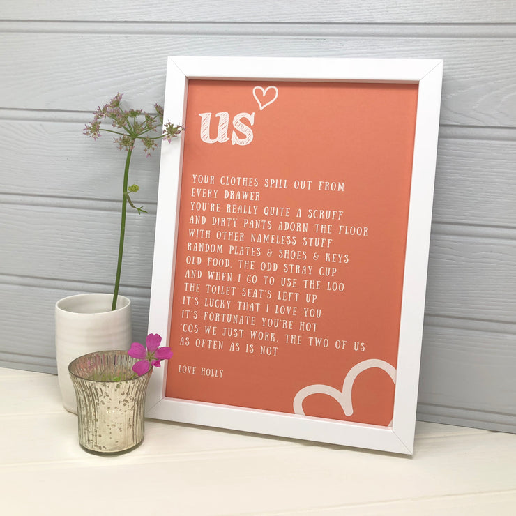 Funny love poem print for valentines day