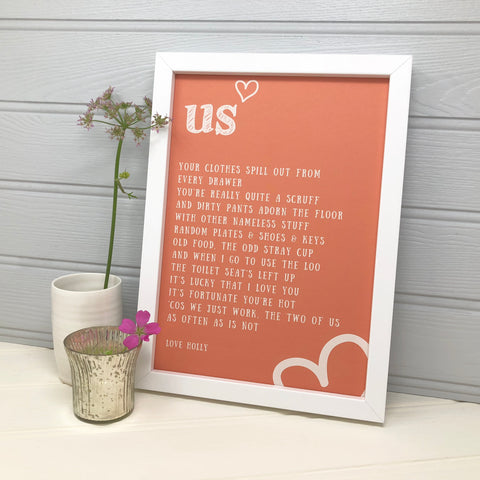 'US' Funny Personalised Love poem
