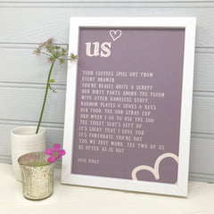 funny anniversary gift for him personalised love poem