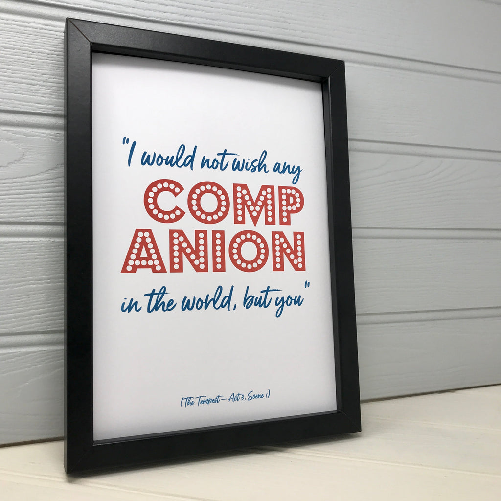 Literary Love Quote Print (The Tempest)