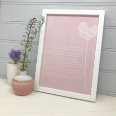 Love you Birthday gift for wife in pink with hearts