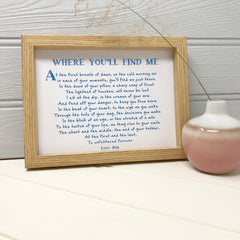 personalised Love poem print