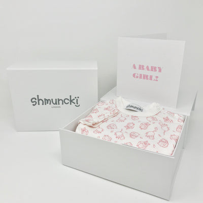 shmuncki baby girl gift with a woodland pink baby grow in a box with free postage