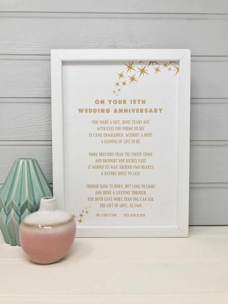 personalised 10th wedding anniversary poem make a unique gift