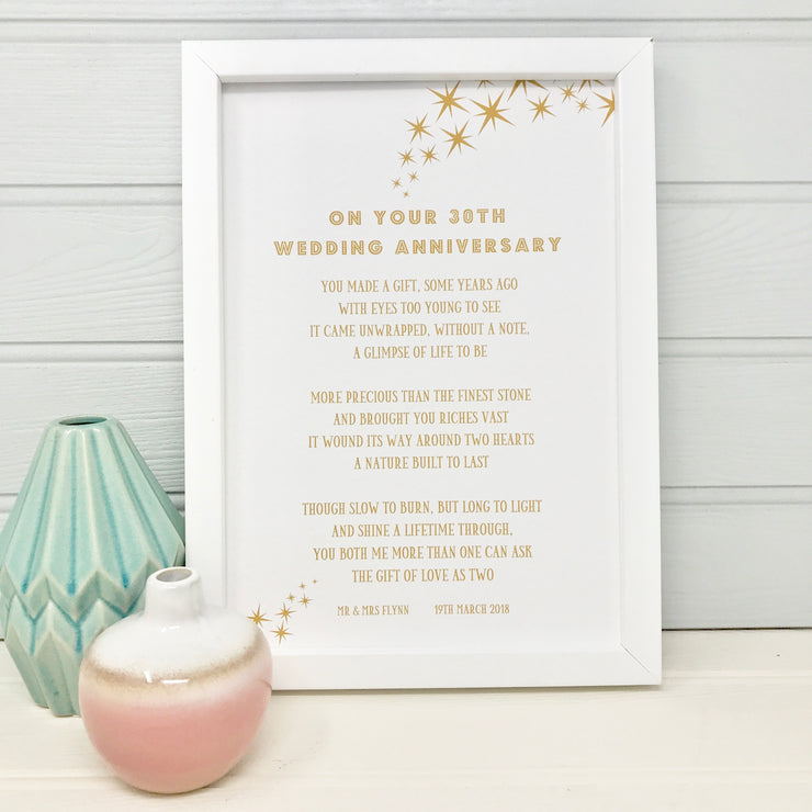personalised poem for a 30th wedding anniversary framed with gold text