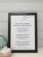 personalised diamond wedding anniversary poem