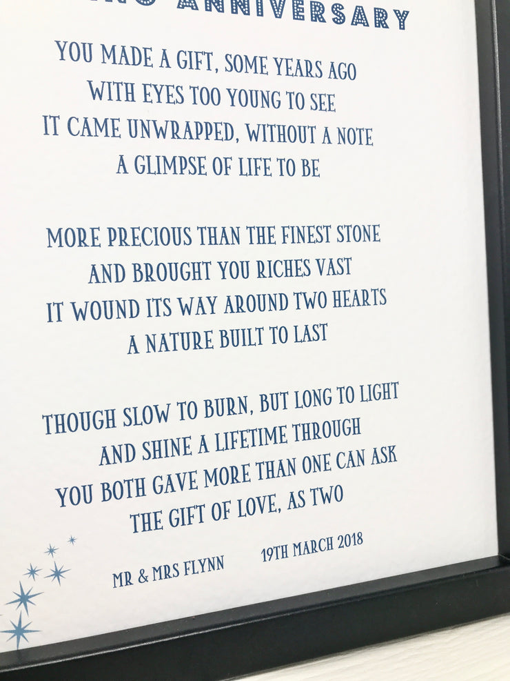 on your diamond anniversary a personalised poem on blue font and frame