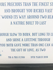 60 year wedding anniversary printed poem with choice of frame