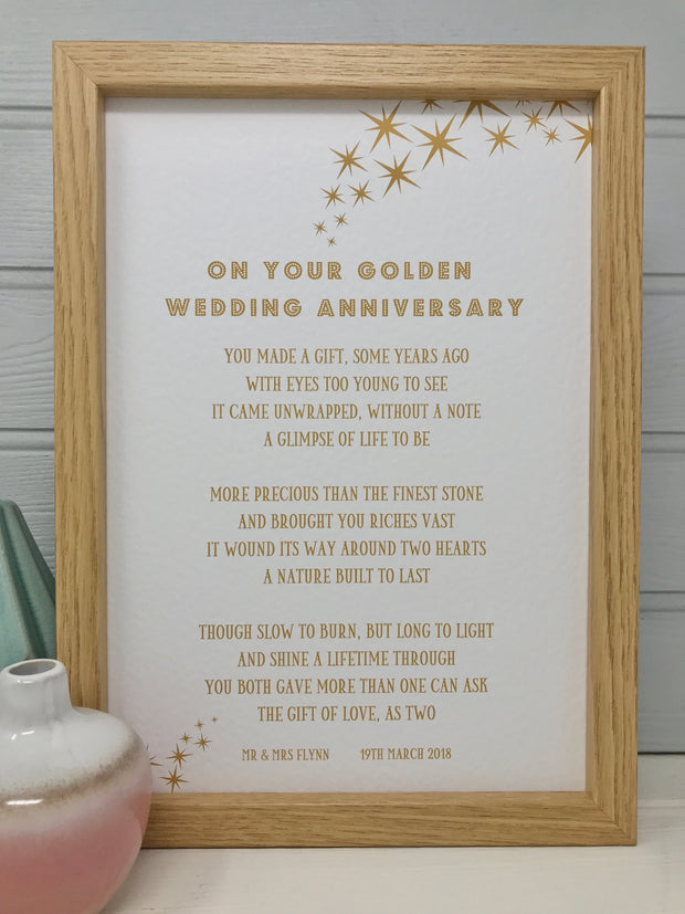 On your golden wedding anniversary poem gift