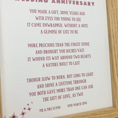 personalised ruby wedding anniversary poem