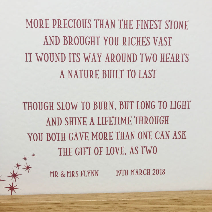 unique anniversary gift poem in red with framed option