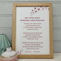 wooden framed ruby anniversary poem with star illustrations