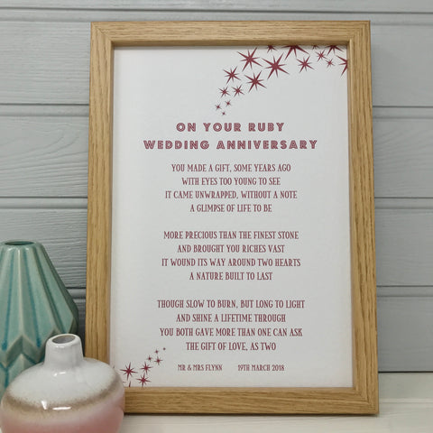 On Your Ruby Wedding Anniversary Poem