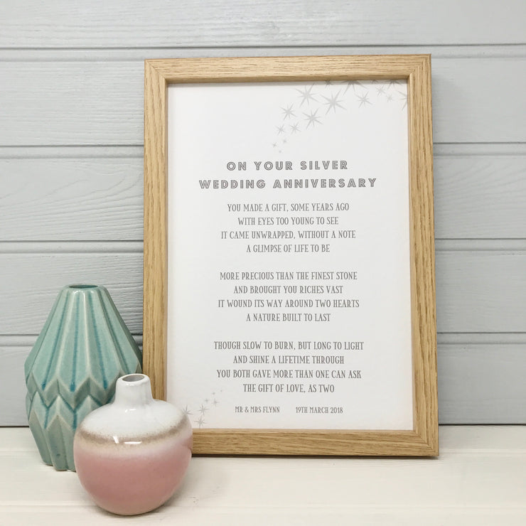 On your silver wedding anniversary, a framed poem