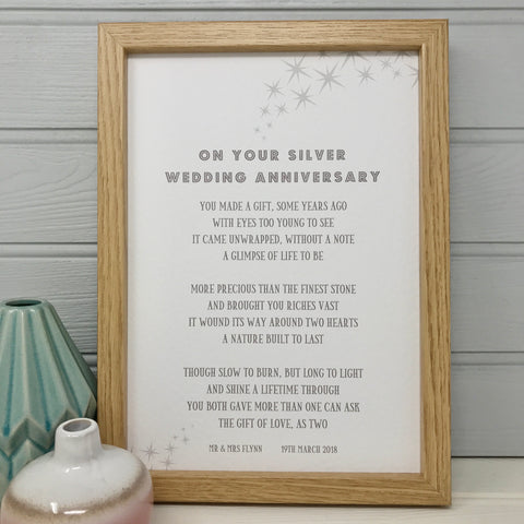 On Your Silver Wedding Anniversary Poem