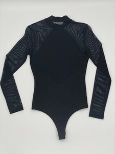 Lulus Sexy Black Mock Neck Bodysuit - Mesh Long Sleeve Bodysuit, Size Small