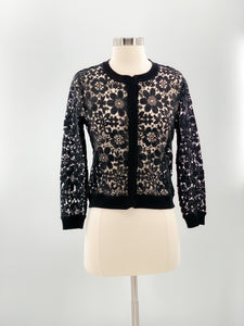 Saks Fifth Avenue Collection Black Lace Cardigan, Size Small