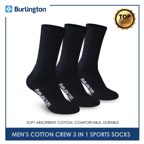 Burlington 0250 Men's Thick Cotton Crew Sports Socks 3 pairs in a pack