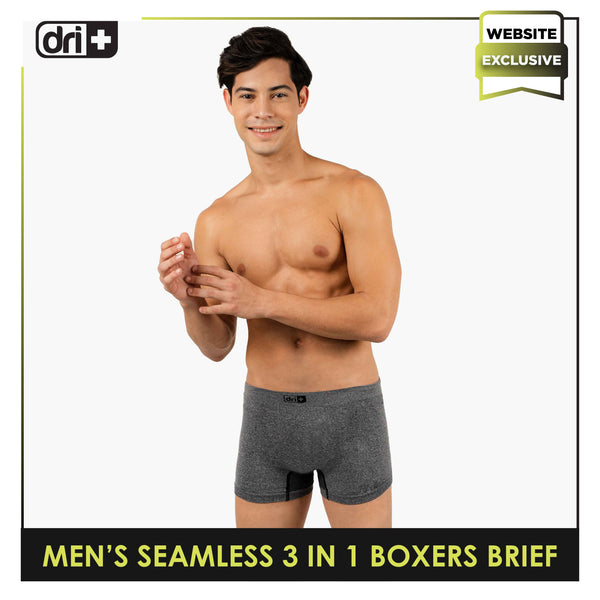 Dri Plus ODMBBG1101 Men's Seamless 3in1 Boxers Brief