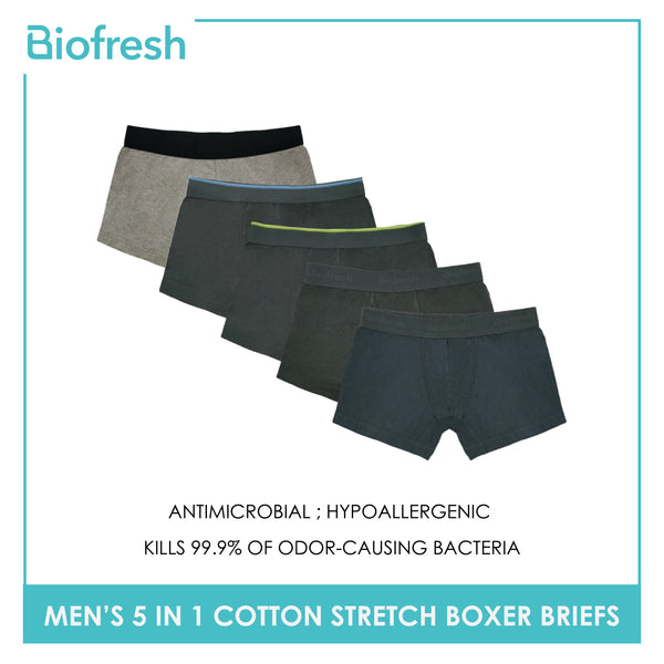 Biofresh OUMBBG1 Men's Cotton Stretch Boxer Briefs 5 pieces in a pack
