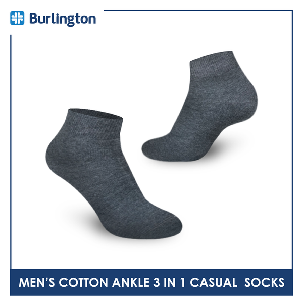 Burlington 142 Men's Cotton Ankle Casual Socks 3 pairs in a pack