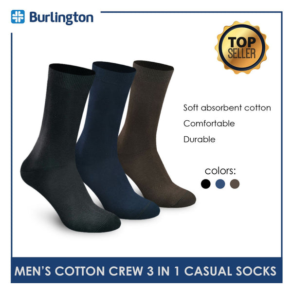 Burlington 148 Men's Cotton Crew Casual Socks 3 pairs in a pack