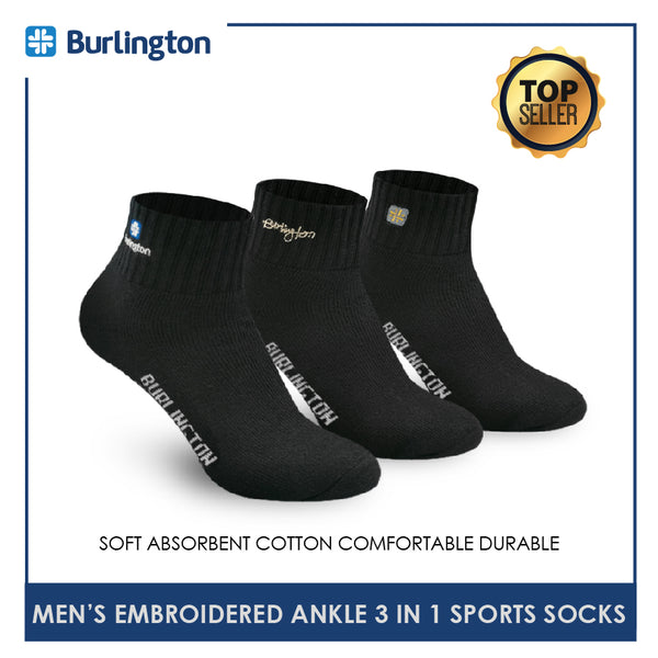 Burlington E1001 Men's Thick Cotton Embroidered Ankle Sports Socks 3 pairs in a pack