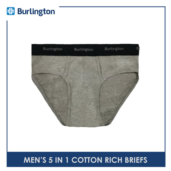 Burlington OGTMBSG1 Men's Cotton Rich Briefs 5 pieces in a pack