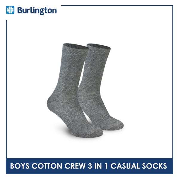Burlington BBCKG27 Children's Cotton Crew Casual Socks 3-in-1 Pack