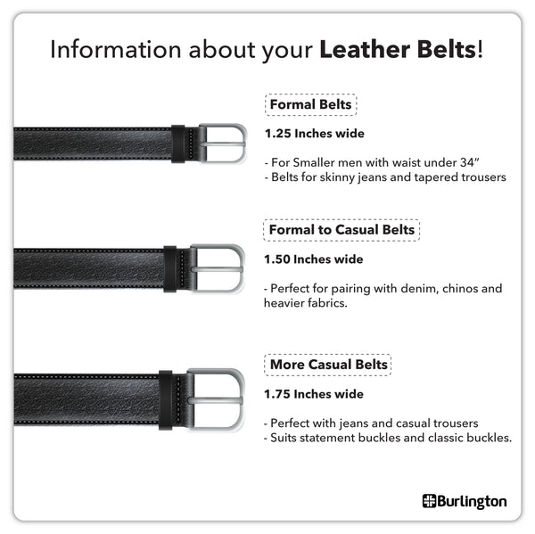 Burlington JMBLA0202 Men's Automatic Buckle Cowhide Genuine Leather Casual belt 1 piece (size 120cm)