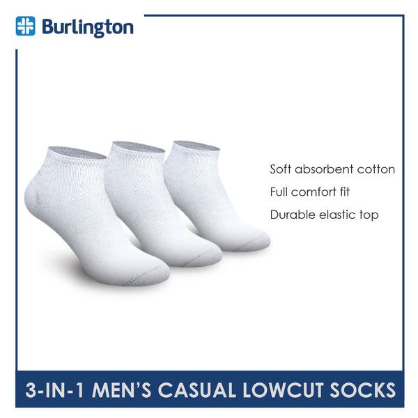 Burlington BMCKG17 Men's Cotton Low Cut Casual Socks 3-in-1 Pack