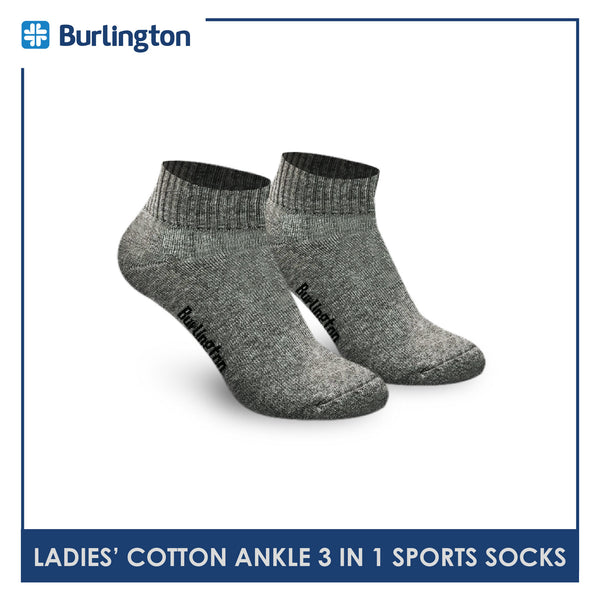 Burlington 6222 Ladies Cotton Ankle Sports Socks 3 pairs in a pack