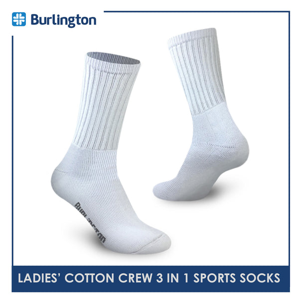 Burlington BLL-223 Ladies Cotton Crew Sports Socks 3 pairs in a pack