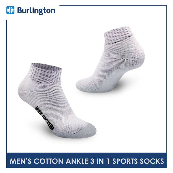 Burlington 0222 Men's Thick Cotton Ankle Sports Socks 3 pairs in a pack