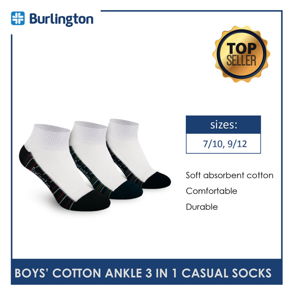 Burlington BBCKG59 Children's Cotton Ankle Casual Socks 3 pairs in a pack