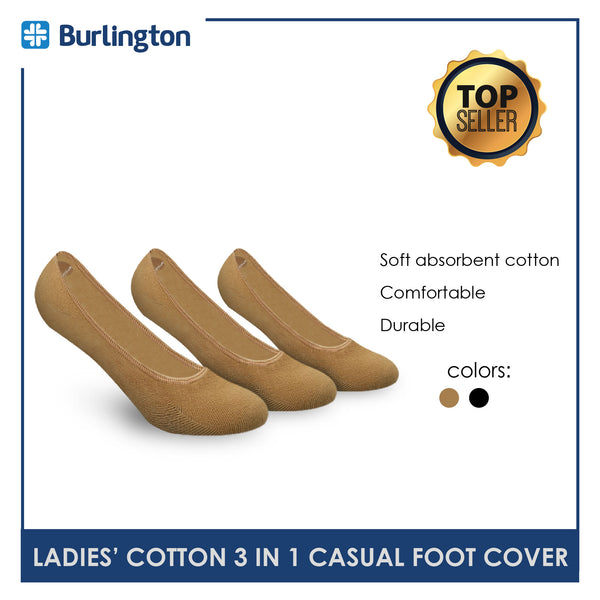 Burlington SNG91F Ladies Cotton No Show Casual Socks 3 pairs in a pack