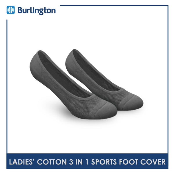 Burlington BLFCSG1G Ladies Cotton No Show Sports Socks 3 pairs in a pack