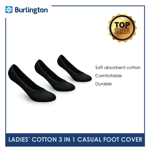 Burlington BLCFG9302 Ladies Cotton No Show Casual Socks 3 pairs in a pack