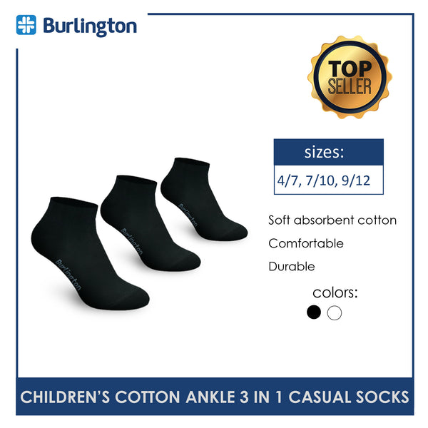 Burlington 5100 Children's Cotton Ankle Casual Socks 3 pairs in a pack