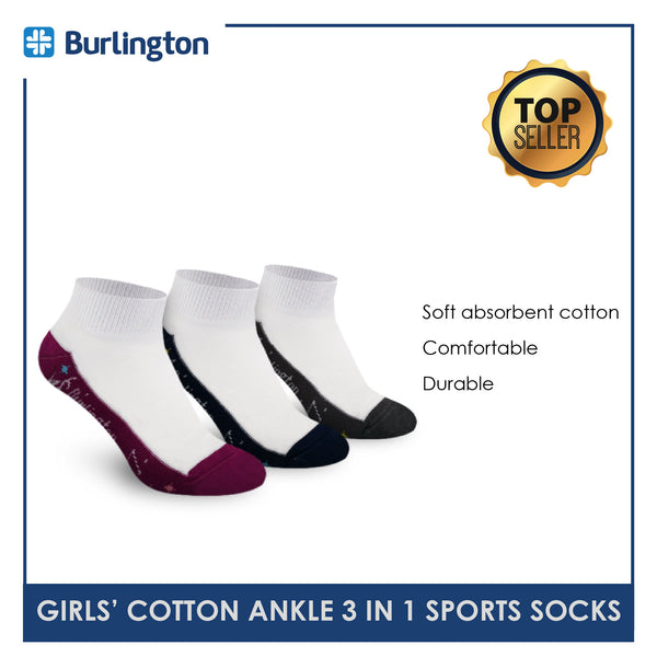Burlington BGSKG17 Children's Thick Cotton Ankle Sports Socks 3 pairs in a pack
