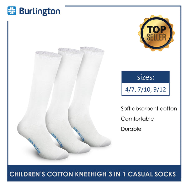 Burlington 5605GP Children's Cotton Knee High Casual Socks 3 pairs in a pack