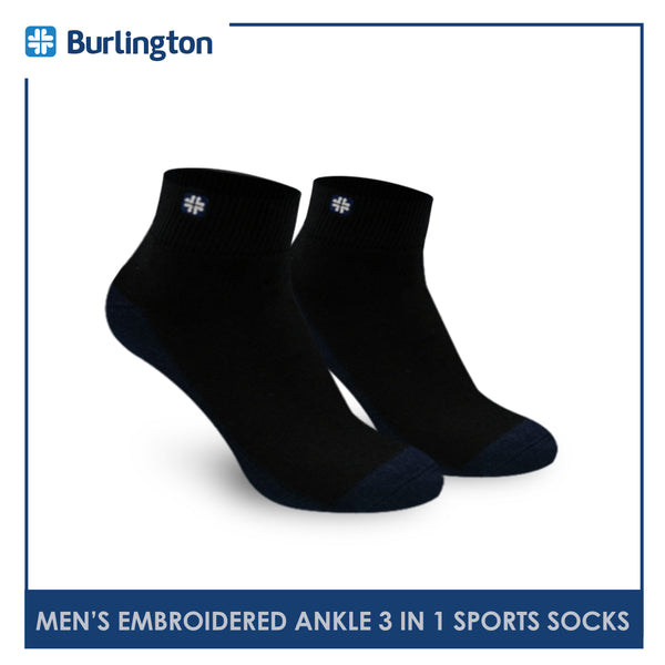 Burlington BMKSEG13 Men's Thick Cotton Ankle Sports Socks 3 pairs in a pack