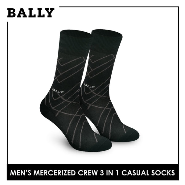 Bally YMMKG6 Men's Mercerized Crew Casual Socks 3 pairs in a pack