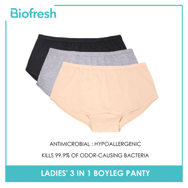 Biofresh ULPBG0401 Ladies' Antimicrobial Boyleg Panty 3 pieces in a pack