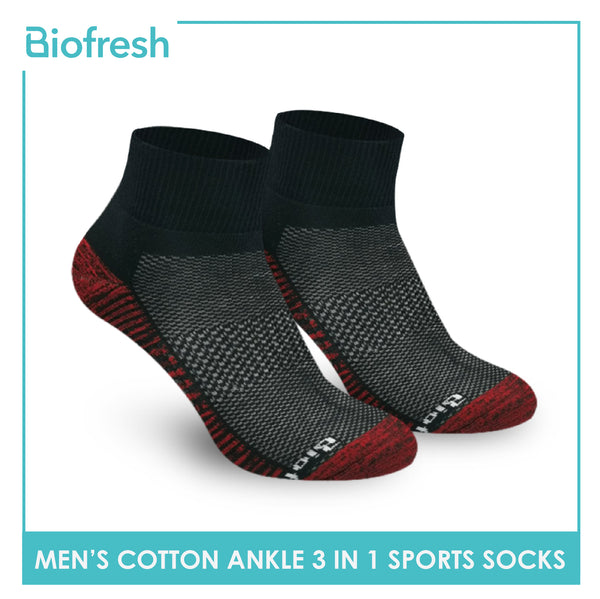 Biofresh RMSKG22 Men's Thick Cotton Ankle Sports Socks 3 pairs in a pack